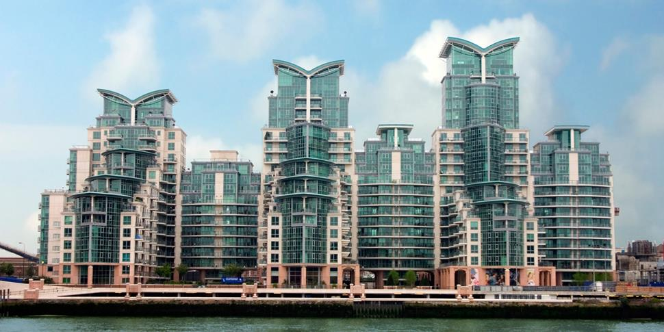 St Georges Wharf development across water